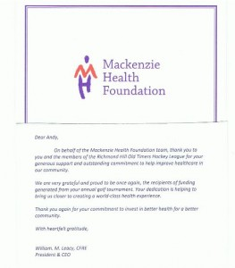 RHOTHL Donation to Mackenzie Health Foundation - Thank You