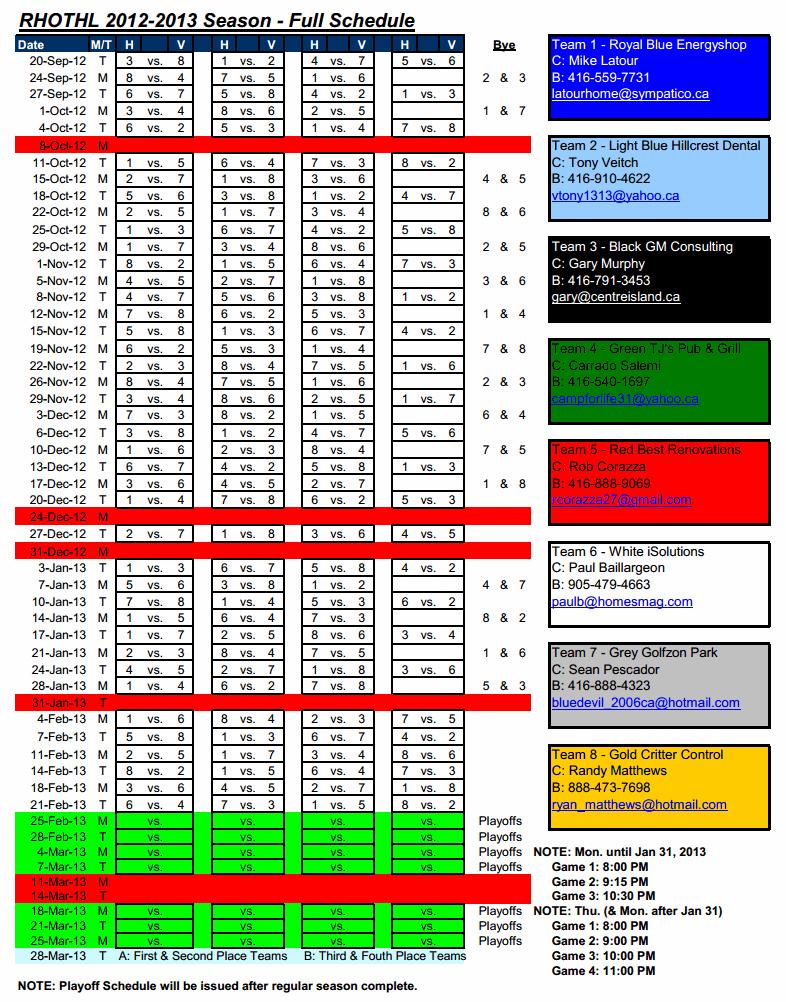 Schedule Season 2012-2013