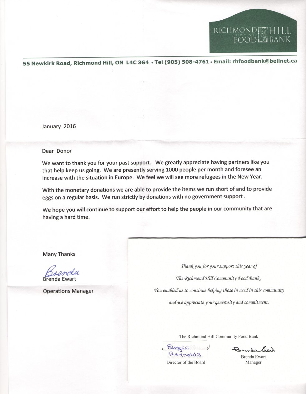 RHOTHL Donation to Richmond Hill Food Bank Letter